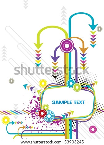 dotted grunge banner with colorful arrowhead, circle