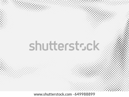 Dotted halftone black and white retro layout. Abstract pop art style page background template. Vector illustration