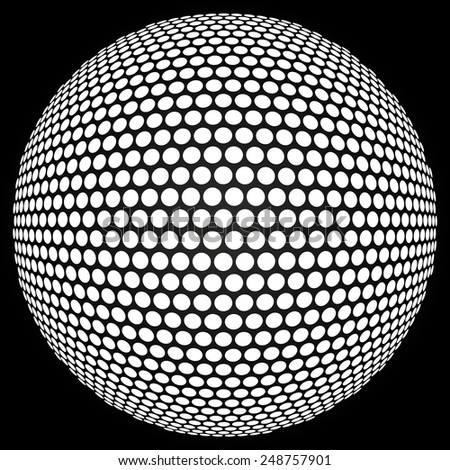 Dotted halftone sphere. Retro party background with disco ball