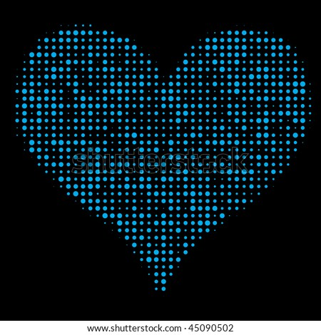 Dotted Heart on Black - stock vector