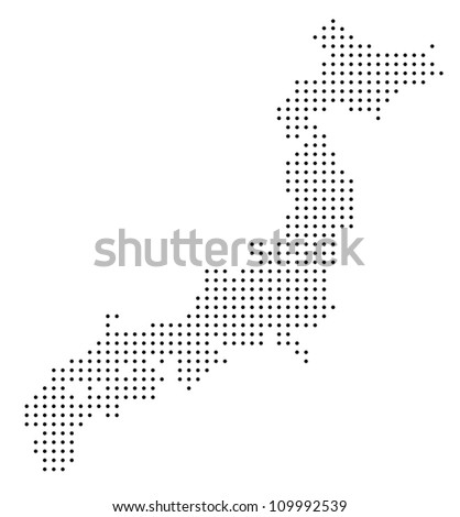 Dotted Japan map - stock vector