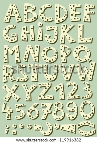 dotted latin letter set in beige with shadow retro colors