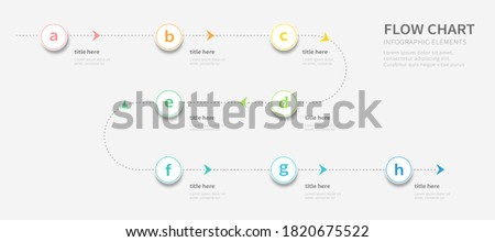 Dotted line process flow chart design infographic template with eight alphabetic options Photo stock ©