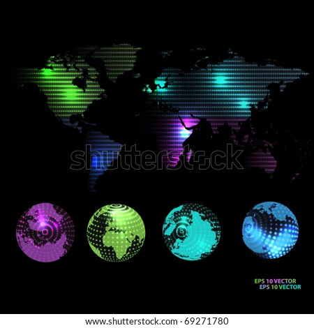 Dotted map and globe of the world. EPS10 vector illustration.