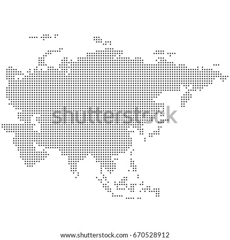 Dotted map of Asia. Vector eps 10