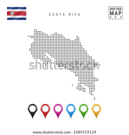 Dotted Map of Costa Rica. Simple Silhouette of Costa Rica. The National Flag of Costa Rica. Set of Multicolored Map Markers. Vector Illustration Isolated on White Background.