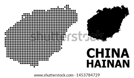 Dotted map of Hainan Island composition and solid illustration. Vector map of Hainan Island composition of round spots on a white background. Abstract flat geographic scheme for political templates.