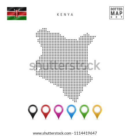 Dotted Map of Kenya. Simple Silhouette of Kenya. The National Flag of Kenya. Set of Multicolored Map Markers. Vector Illustration Isolated on White Background.