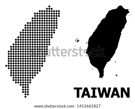 Dotted map of Taiwan mosaic and solid illustration. Vector map of Taiwan composition of round pixels on a white background. Abstract flat geographic plan for educational purposes.