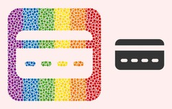 Dotted mosaic credit card subtracted icon for LGBT. Multicolored rounded square mosaic is around credit card subtracted space. LGBT spectrum colors. Vector credit card composition of circle dots.