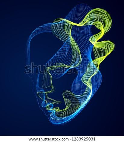 dotted particles human portrait