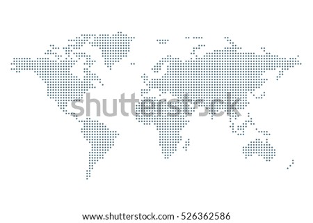 Dotted Political World Map. Template with grey points isolated on white background. Vector  World map for website, design, cover, infographics. Flat Earth Graph illustration.