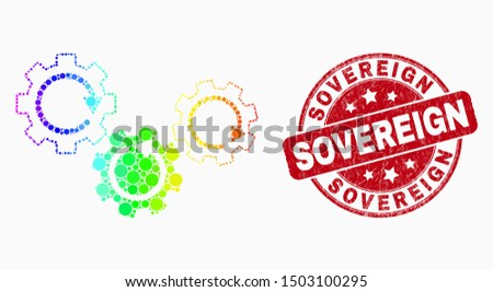 Dotted spectral gear mechanism mosaic pictogram and Sovereign seal. Red vector round scratched seal with Sovereign text. Vector combination in flat style. ストックフォト ©