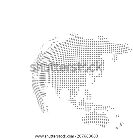 dotted vector globe map