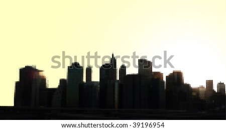 Dotted view on Downtown Manhattan skyscrapers from Brooklyn Bridge, vector