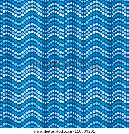 Dotted waves, abstract blue dotted pattern