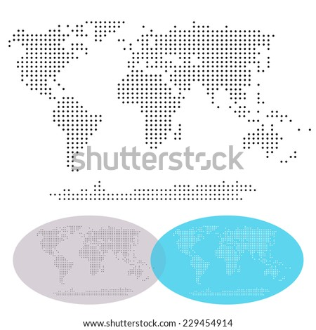 dotted world continents map