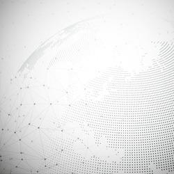 Dotted world globe, light design vector illustration.
