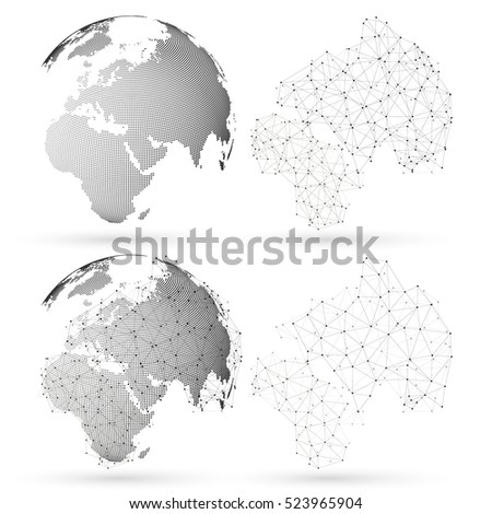 Dotted world globe with abstract construction, connecting lines and dots, molecules on white background. Molecule structure. Medicine, science, technology concept. Polygonal design vector