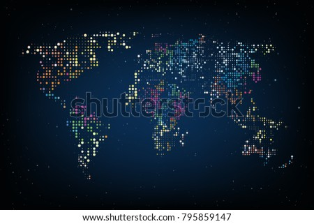 dotted world map abstract