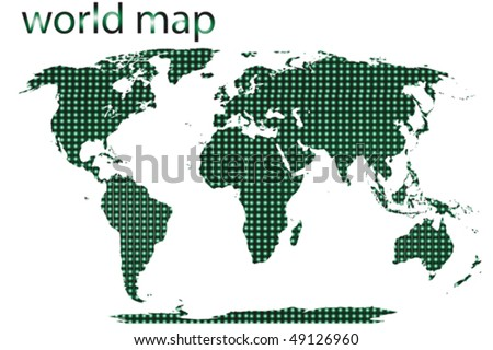 Dotted world map isolated on white background