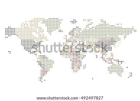 Dotted world map vector download free vector art stock graphics dotted world map of square dots on white background vector illustration gumiabroncs Choice Image