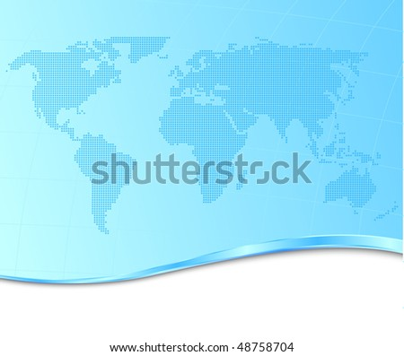 Dotted world map on a technological background. Vector illustration