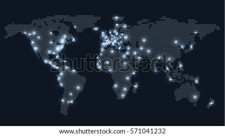 dotted world map with glowing