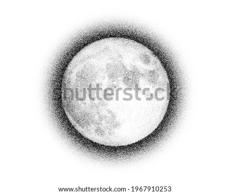 Dotwork Moon night pattern vector background. Sand grain effect. Black noise stipple dots satellite. Abstract noise dotwork pattern. Black dots Moon night banner. Stipple circles. Dotted vector.