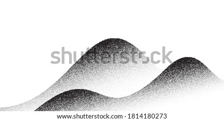 Dotwork mountain pattern vector background. Black noise stipple dots. Sand grain effect. Dots grunge banner. Abstract noise dotwork pattern. Stipple circles. Stochastic dotted vector background.
