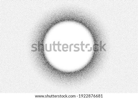 Dotwork solar eclipse pattern vector background. Sand grain effect. Black noise stipple dots. Abstract noise dotwork pattern. Black dots grunge banner. Stipple solar eclipse. Dotted vector background.
