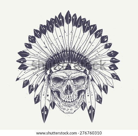 Stock vector dotwork style skull with indian feather hat grunge vector