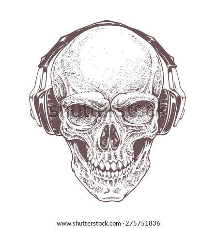 dotwork styled skull with