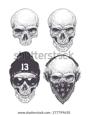 dotwork styled skulls isolated
