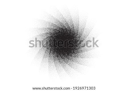 Dotwork swirl pattern vector background. Sand grain effect. Spiral noise stipple dots. Abstract noise dotwork pattern. Black dots grunge banner. Stipple swirl spin element. Dotted vector background.