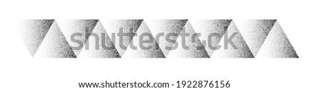 Dotwork triangles pattern vector background. Sand grain effect. Black noise stipple dots. Abstract noise dotwork pattern. Black dots triangles. Stipple circles. Dotted vector background.