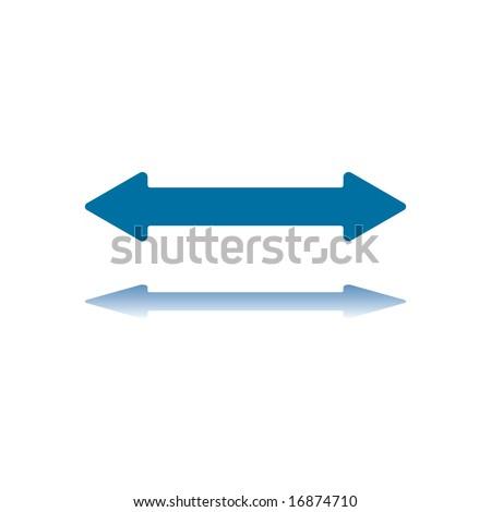 Double Arrowhead Horizontal Arrow Reflecting on Bottom Plane
