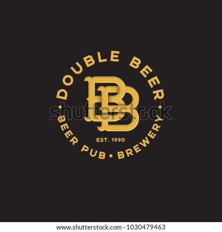 Double B letter. Beer Pub logo. Two beer pub emblem. Yellow monogram double B.