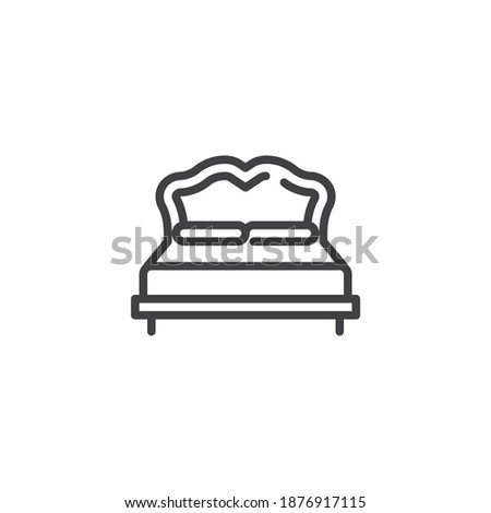 Double bed line icon. linear style sign for mobile concept and web design. Bed with pillows outline vector icon. Furniture symbol, logo illustration. Vector graphics
