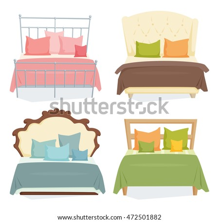 double beds and pillows set