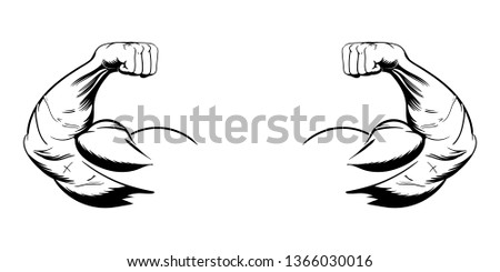 double bicep vector illustration