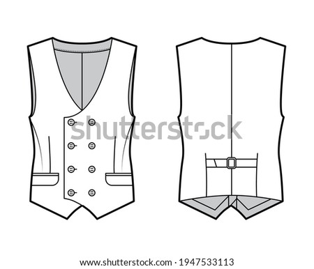 Double breasted vest waistcoat technical fashion illustration with sleeveless, button-up closure, flap pockets, fitted body. Flat template front, back, white color style. Women, men, unisex CAD mockup Stock photo ©