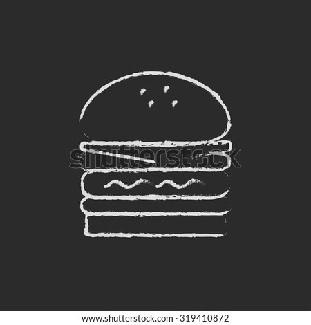 Double burger hand drawn in chalk on a blackboard vector white icon isolated on a black background.