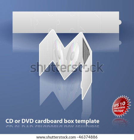 Double CD or DVD cardboard box template