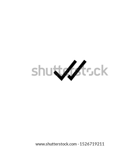 Double check mark icon design, tick symbol vector illustration isolated on white background. Whatsapp double check mark. Whats app