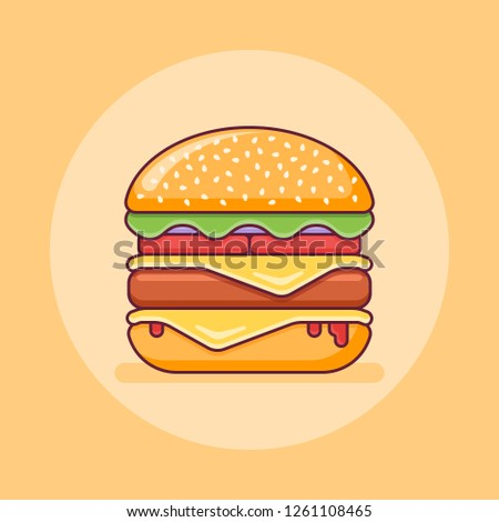 Double cheeseburger flat line icon. Vector illustration.
