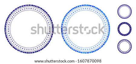 Double circular star frame mosaic of small circles in variable sizes and color tones, based on double circular star frame icon. Vector filled circles are united into blue mosaic.