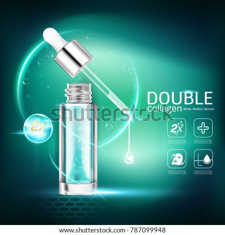 Double Collagen White Perfect Serum Vector Background for Skin Care Cosmetic Products. #787099948