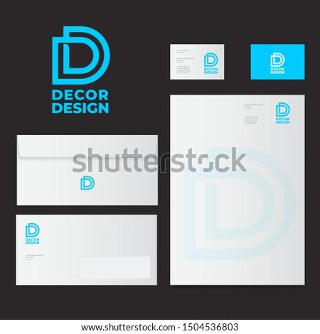 Double D logo. D and D monogram. Decor and design Identity. Mock up of letterhead, envelopes, business card. Zdjęcia stock ©