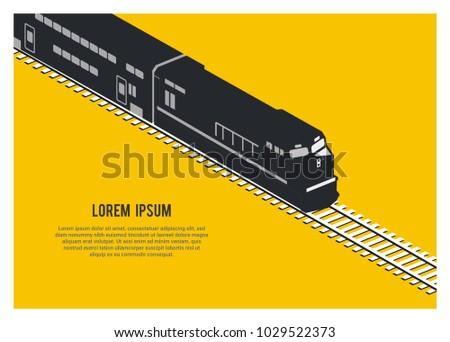 double decker passenger train silhouette simple isometric illustration